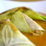 Triangolini di porri con salsa alla zucca